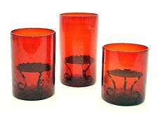 Set of 3, Mexican Crackled Red Glass Hurricane Lamp w/ Metal Bases for Candle