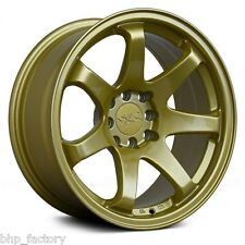 "XXR 551 18"" x 8.75J ET22 5x100 5x114.3 GOLD WIDE RIMS ALLOYS WHEELS Z2912"
