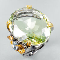 Handmade SET65ct+ Natural Green Amethyst 925 Sterling Silver Ring Size 8/R124205