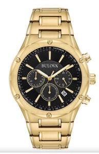 Bulova Men's 97B161 Black Dial Gold Tone Stainless Steel Chronograph Watch ⌚️⚜️