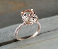 2Ct Oval Cut Peach Morganite Halo Solitaire Engagement Ring 14k Rose Gold Finish