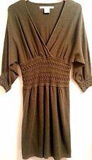 MAX STUDIO Olive/Army Green Cotton/Rayon V-Neck Cableknit Dolman Dress SIZE L