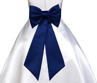 NAVY BLUE TIE BOW SASH FOR WEDDING FLOWER GIRL DRESS sz S M L 2 3 4 6 8 10 12 14
