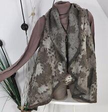 NEW Italy A-Shape Walk Wool Wool Vest Jacket Cardigan Precious Brown Shades 40 42 44