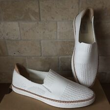 UGG SAMMY WHITE STRETCH KNIT LEATHER SLIP-ON SNEAKERS SHOES SIZE US 8.5 WOMENS
