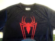 Marvel Spiderman Tshirt Mens Size XL Navy Blue Web Pattern In Material
