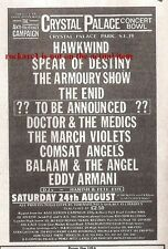 HAWKWIND UK TIMELINE Advert - Crystal Palace Bowl  Sat 24-Aug-1985 5x3 inches