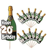20th Birthday Champagne Party Food Cup Cake Picks Sticks Decorations Toppers