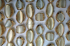 Wholesale lots 5pps Cat eye Gemstone Stone Gold Plated Wedding Rings FREE