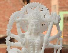 "12"" White Stone Maa Durga Statue Fine Handmade Craftsmanship Use For Worship"