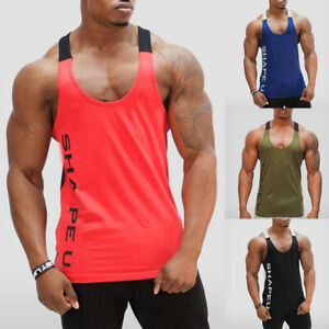 Men Gym Muscle Sleeveless Shirt Tank Top Bodybuilding Sport Fitness Workout Vest