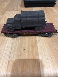 Bb4) Vintage Marx O Gauge Erie Flat Car With Load Brown Truck
