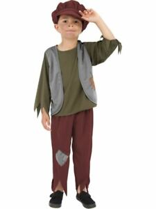Boys Victorian Poor Boy Oliver Urchin Fancy Dress Costume Kids Book Day Outfit