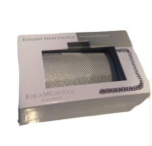 Platium Elegant Mesh Clutch drop chain and gift box