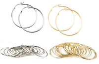 New Silver or Gold Tone Large Plain Round Hoop Earrings Basketball Wives Style