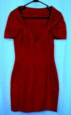 NICOLE MILLER True Red Silk Sheath Dress Sweetheart Neck Plunging V Sexy USA 4