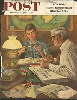 FEB 27 1954 SATURDAY EVENING POST  magazine ( COVER ONLY ) --  STAMP COLLECTING