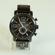Fossil Mens Gage Black Dial Stainless Steel Compass Chronograph Wristwatch