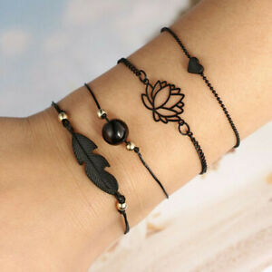 Boho Style Multi-layer Flower Heart Bracelet Anklet Women Girl Wrist Jewelry Set