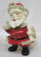 Vintage Christmas R/B NODDER Santa Claus Planter 1950s Thick Spaghetti Art