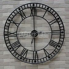 80cm Stunning Extra Large Black Metal Wall Clock Black Skeleton Wall Clock