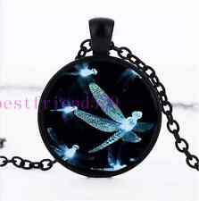 Glowing White Dragonfly Photo Cabochon Glass Dome Black Chain Pendant Necklace
