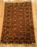 Vintage Afghanistan Hand Woven Carpet Wool Kilim Area Rug 48x32 Inches