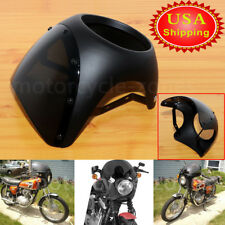 7'' Retro Motorcycle Matte Black Headlight Fairing Screen Windshield Cafe Racer