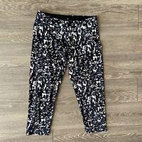 Women's adidas Leggings Crop Capri Black Speckle Climalite Mid Rise Medium M