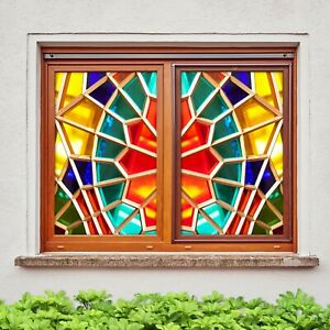 3D Diamond Square I11 Window Film Print Sticker Cling Stained Glass UV Block Ang