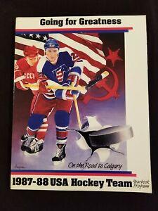 1987-88 USA OLYMPIC HOCKEY TEAM YEARBOOK Granato, Leetch, Stevens, Richter, etc.