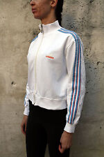 Adidas Ladies White Tracksuit Top Jacket Sport Casuals Cotton M Medium