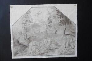 ITALIAN-VENETIAN SCH.17thC - RELIGIOUS SCENE CIRCLE BASSANO - FINE INK DRAWING