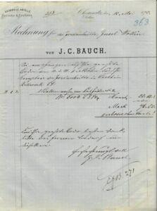 BAUMWOLL-ABFÄLLE J. C. Bauch, Chemnitz: Rechnung für Jordanhütte Wollin von 1875