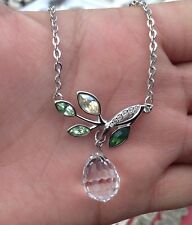 Authentic Signed Swarovski Necklace with Charms Pendant Branch Crystal