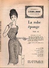 ▬► Patron Couture Supplément Écho de la Mode Robe Éponge Taille 44 N°29 1960