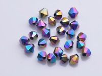 200pcs Bluk 4mm Bicone Faceted Crystal Glass Loose Spacer Beads Colorized Plated