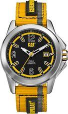CAT Twist Up Black/Yellow Men Watch,42.5 mm,BK face,SS,YL BK GY nylon,BK/YL dial