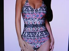 Women's Multi Color One-Piece Swim - Pink,White,Blue,Black -New  Size XL (16-18)