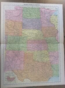 Vintage Antique 1939 Philips Map 20x15 United States Central USA US Minneapolis