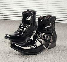 Punk Mens Mid calf Boot Chain Leather Pointy Toe Cowboy Western Pleated Shoes Sz
