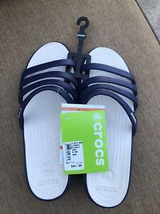 NEW  Crocs Sandals - Rhonda Wedge - Women's size 8   Nautical Navy/Stucco