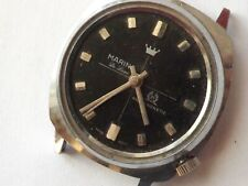 a vintage gents black dialled marina de luxe manual wind watch