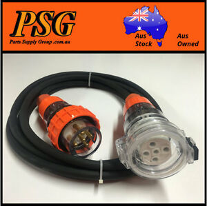 10 Amp 30m Extension Lead, 3 Phase, 4 pin, 415V 10A 30mt Cable 1.5mm² Rubber 3Ph
