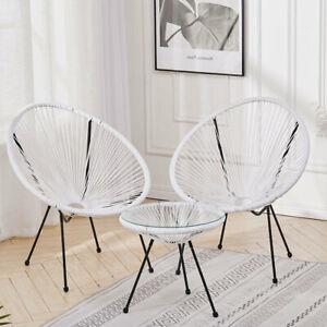 Metal&Rattan Woven Egg Chair Armchair Lazy Sofa Balcony Bistro Set Table+2 Chair