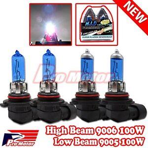 9006 HB4 9005 9140 9145 100W High Low Beam Bulbs Combo Halogen Gas Xenon 5K P4