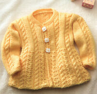 Baby Aran Cable & Lace Round Neck Cardigan 6 - 24 mths -  Knitting Pattern