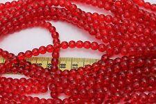 52 Beads Loose 6mm in diameter Trans Dark Red Round Druk Glass Beads