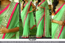 Bollywood Style Parrot Green Color Georgette Saree With Mirror Work