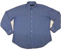 Men's Ralph Lauren Polo Classic Fit Long Sleeve Button Down Shirt Blue Plaid XL